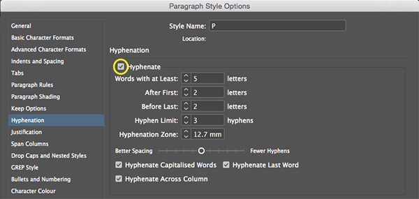 InDesign's Paragraph Style Options dialogue box