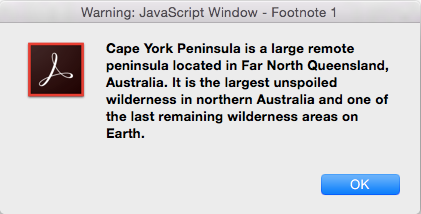 A JavaScript pop-up containing some footnote text