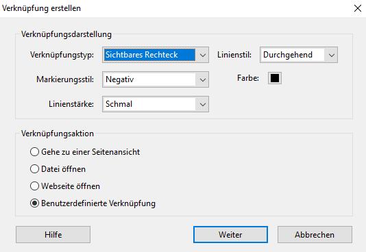Screenshot: Das Dialogfeld Verknüpfung erstellen von Acrobat