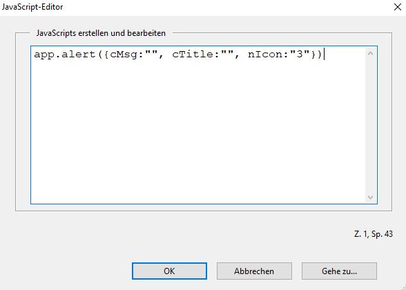 Screenshot: JavaScript-Editor von Adobe mit dem oben aufgeführten JavaScript
