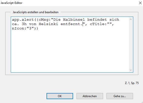 Screenshot: JavaScript-Editor mit Script und Inhalt der Fußnote