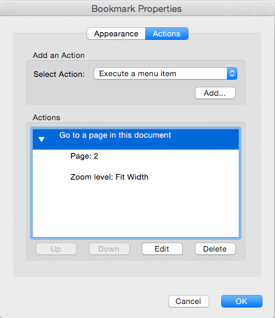 Screenshot of the bookmark properties dialogue box