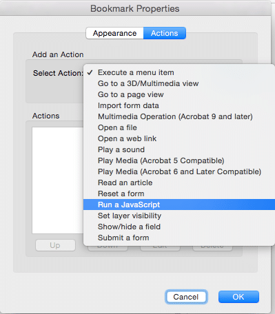 Screenshot of the Select Action dropdown menu