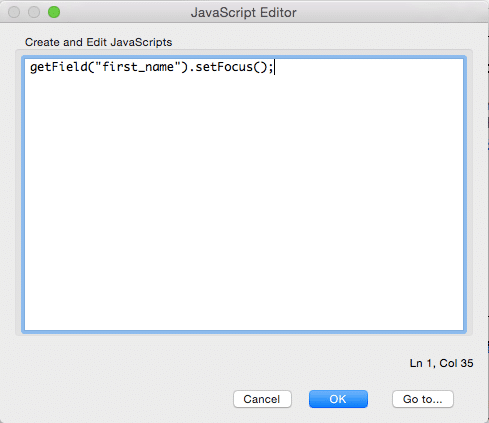 Screenshot of the Acrobat JavaScript Editor panel