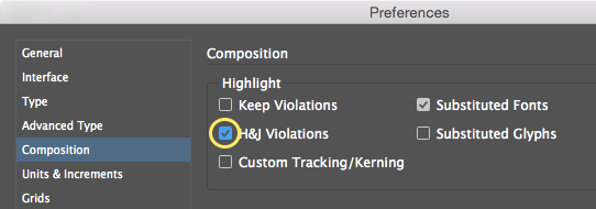 Screenshot of InDesign preferences dialogue box - enabling H&J Violations