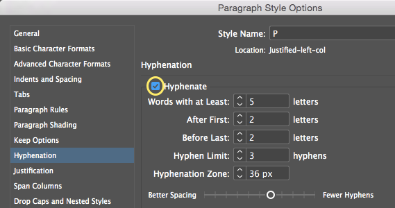 Screenshot of InDesign preferences dialogue box - enabling auto-hyphenation