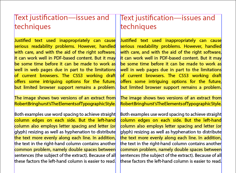 Screenshot of poorly justified text - potentially problematical for people with dyslexia