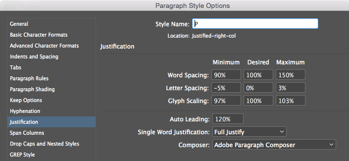 Screenshot of InDesign paragraph styles options dialogue box - adjusting spacing and scaling