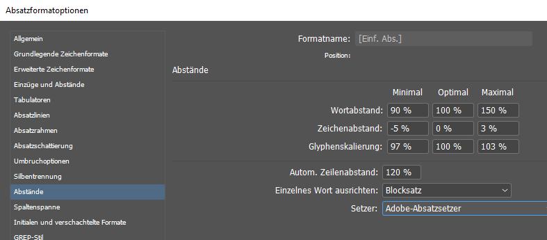 Screenshot des Dialogfeldes Absatzformates in InDesign – Anpassung von Abständen und Skalierung