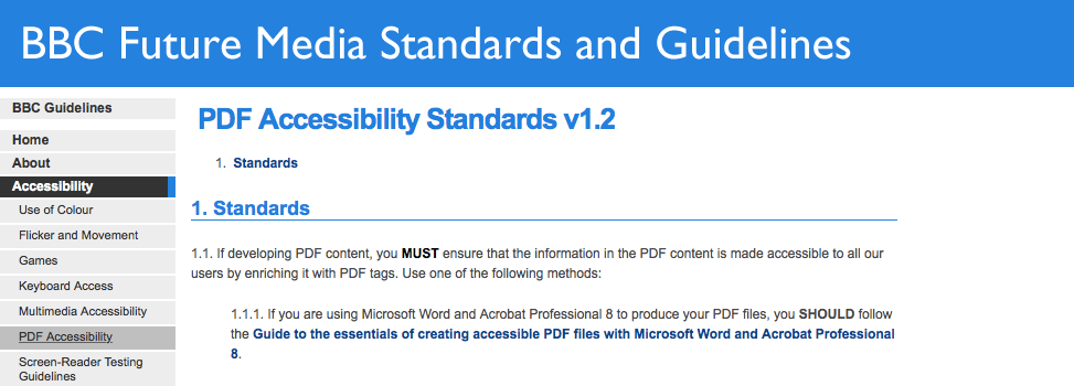 Screenshot of BBC Future Media Standards and Guidelines PDF Accessibility Standards web page