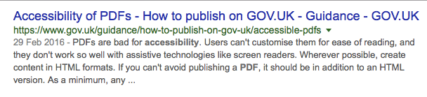Google pdf accessibility results page extract