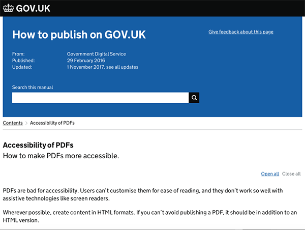 Screenshot of the GOV.UK page
