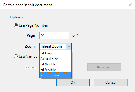 "Screenshot of the Acrobat ""Go to a page in this document"" dialogue box with the Zoom attribute dropdown open"