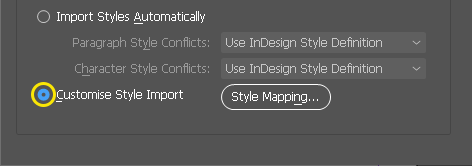Screenshot of the bottom of InDesign's Microsoft Word Import Options dialogue box