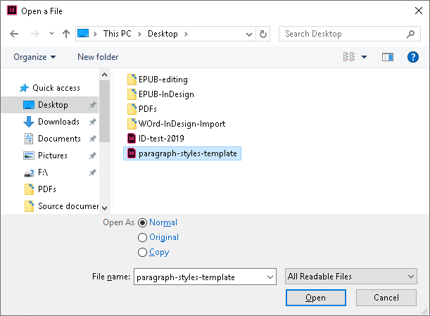 Screenshot of InDesign's Open a File dialogue box