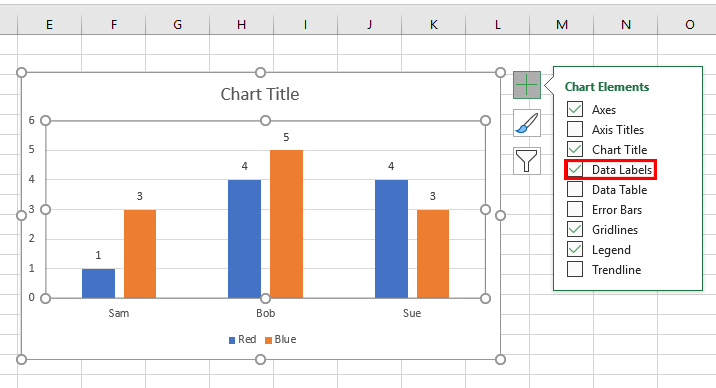 Screenshot showing how to add data labels to an Excel bar chart