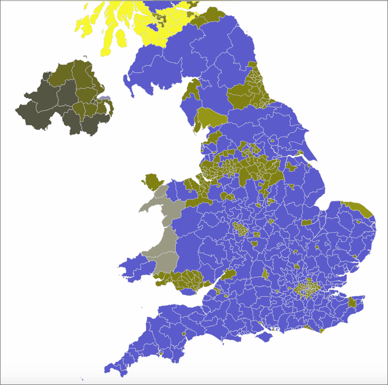 Map of the UK election result 2017 as seen in a deuteranopia simulator