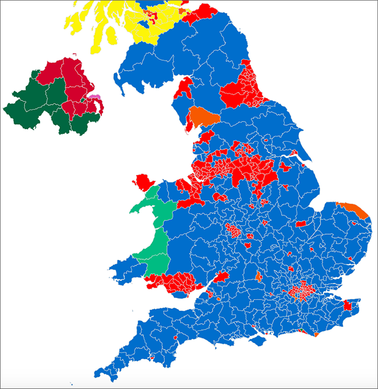 Map of the UK election result 2017