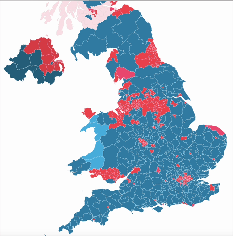 Map of the UK election result 2017 as seen in a tritanopia simulator
