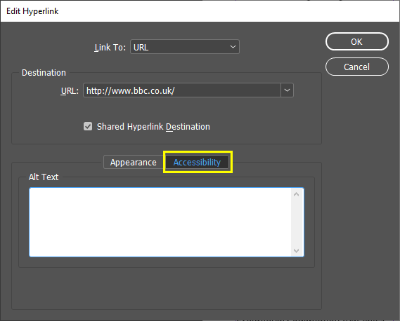 Screenshot of the new Alt Text field under the Accessibility tab of the Edit Hyperlinks dialogue box