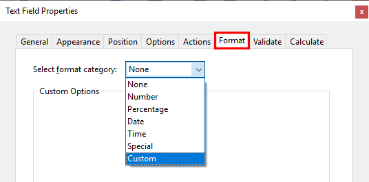 Acrobat's Text Field Properties dialogue, Format tab, showing the Select Format Category dropdown
