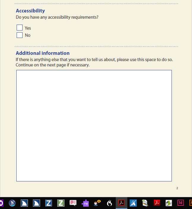An 'additional information' form field requiring a continuation sheet on the next page