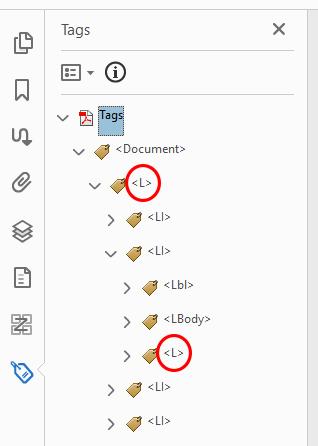 Screenshot of correct Acrobat list tags