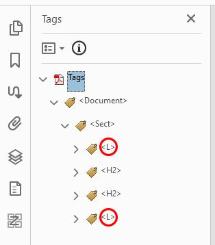 Screenshot of incorrect Acrobat list tags