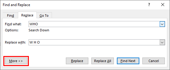 The Find and Replace dialogue box in Microsoft Word