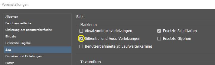 Screenshot des Dialogfensters zur Aktivierung von Silbentr. und Ausr.-Verletzungen.