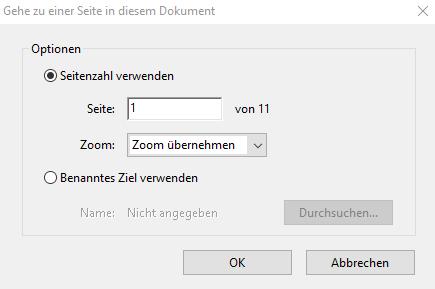 """Screenshot des Dialogfeldes """"Gehe zu einer Seite in diesem Dokument"""" mit Dropdown-Menü für den Zoomfaktor in Acrobat"""