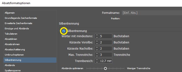 Dialogfenster Absatzformate von InDesign