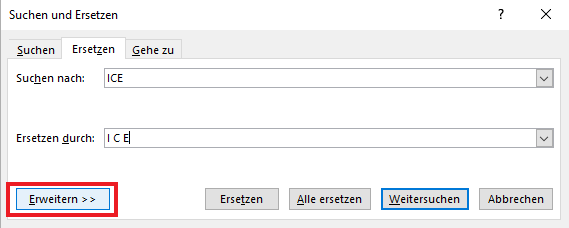 Dialogfenster Suchen und Ersetzen in Microsoft Word