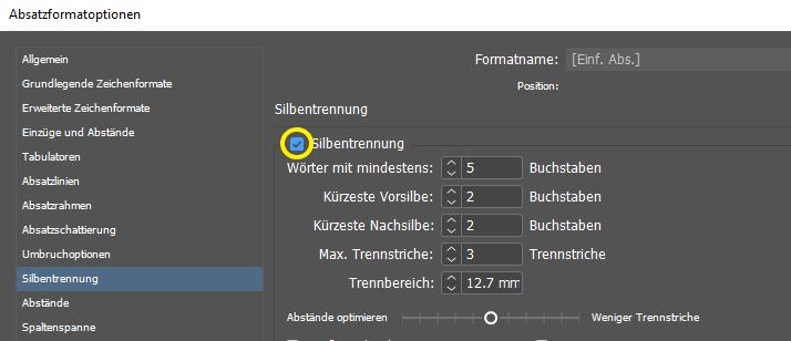 Screenshot des Dialogfelds für Voreinstellungen in InDesign – Aktivierung der automatischen Silbentrennung