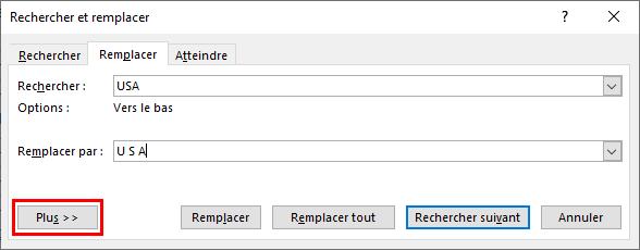 boîte de dialogue Rechercher et remplacer sous Microsoft Word