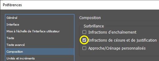 Capture d'écran montrant la boîte de dialogue des préférences de InDesign - activation des Infractions de césure et de justification
