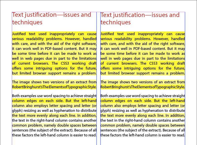 Screenshot eines schlecht ausgerichteten Texts – möglicherweise für Legastheniker problematisch
