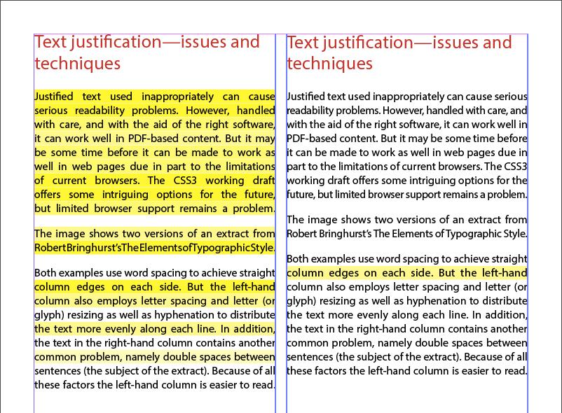 Screenshot des Blocksatzes, wobei die meisten Probleme behoben wurden (mit nur wenigen gelben Markierungen)