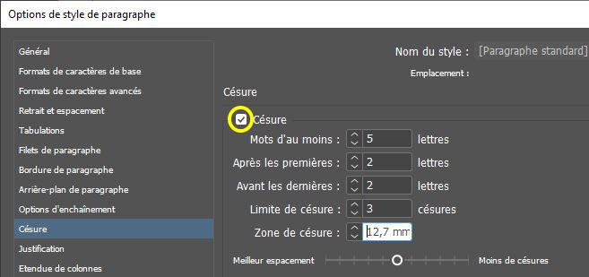 Capture d'écran montrant la boîte de dialogue des préférences de InDesign - activation des césures automatiques