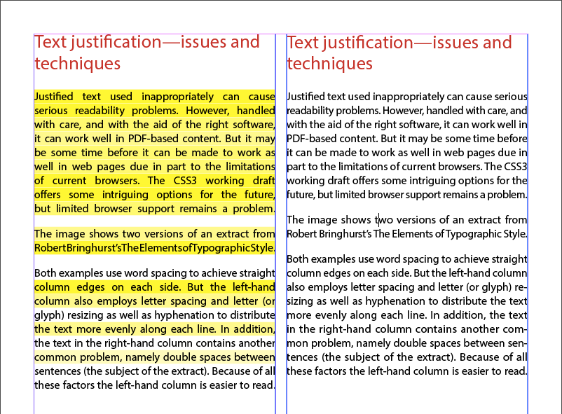 Capture d'écran montrant le texte justifié avec les problèmes de « lézardes » corrigés (il n'y a plus de texte surligné en jaune)