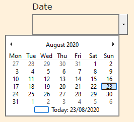 The PDF date picker expanded