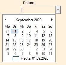 Die ausgeklappte PDF-Datumsauswahl