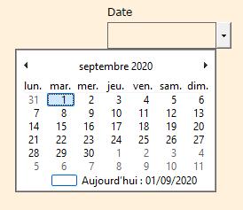 Vue du sélecteur de date en PDF ouvert