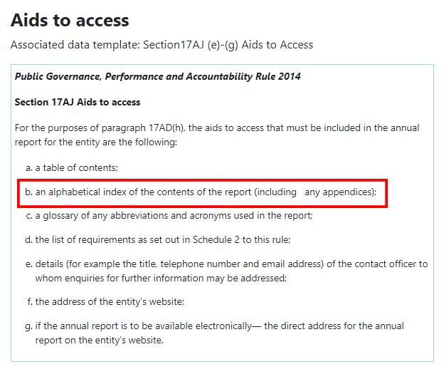 Capture d'écran de la Section 17AJ, Aides à l'accès de la loi australienne de 2014 sur l'administration publique, les performances et la responsabilité.