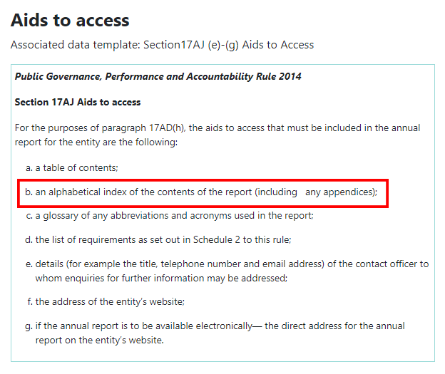 "Screenshot des Abschnitts 17AJ ""Aids to access of the Public Governance"", Performance and Accountability Rule 2014."