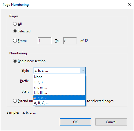 "The Page Numbering dialogue box with ""a, b, C, …"" selected"