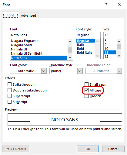 Word's Font dialogue box (Font tab) with All caps highlighted
