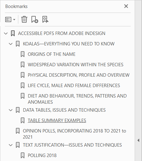 Aus Großschrift erstellte PDF-Lesezeichen