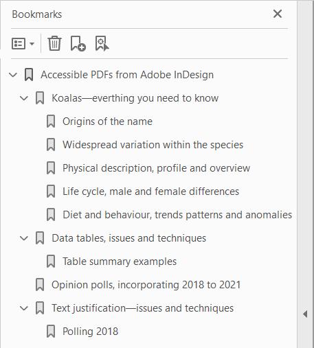 Signets de PDF générés à partir de texte en bas de casse