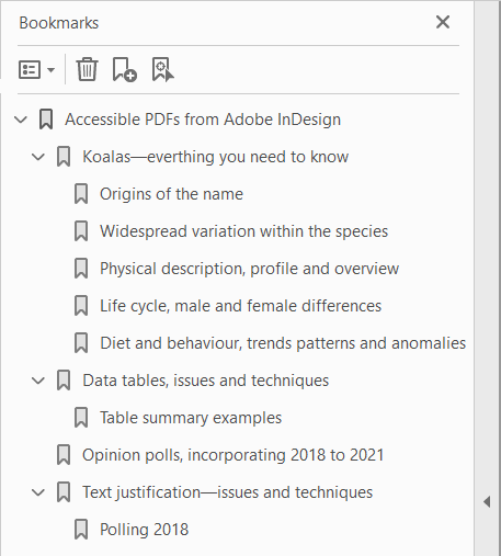 PDF bookmarks generated from sentence case text